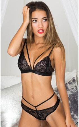 Wild Obsession bralette set in black lace
