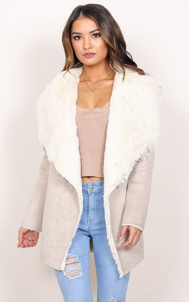 Unexpected Feeling shearling coat in beige | Showpo