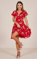 At Ease dress in red floral