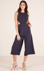 Out Dream Yourself jumpsuit in navy polka dot