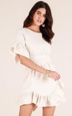 Desert Skies dress in beige linen look