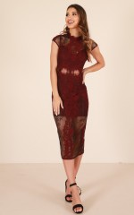 Reservations dress in wine lace