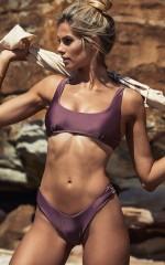 Babetown Bikini Top in plum metallic