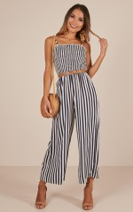 More Than Life jumpsuit in navy stripe