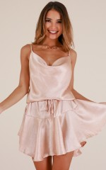 Over The Limit dress in champagne sateen