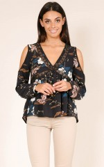 Im The One top in black floral