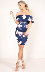 Precious Things dress in navy floral