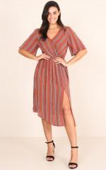 Freelance dress in rust stripe