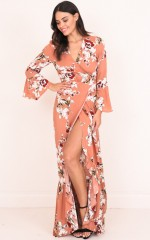 Your Arms Around Me maxi dress in peach floral
