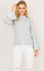 Take My Time Knit in grey marle