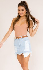 Ocean Rain denim skirt in light wash