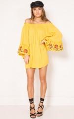 Hold It Down dress in mustard
