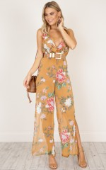 Truth Teller Jumpsuit in rust print