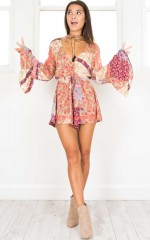 Children Of The Wild Playsuit in coral print