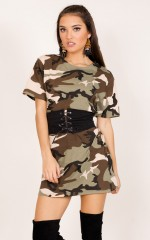 Aint Yo Girl belted tee dress in camo