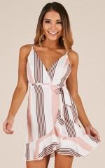 Lose Myself Dress In blush stripe