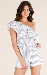 Blame It On Me playsuit in white stripe