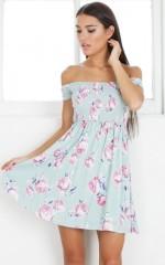Bold Shoulder dress in sage floral