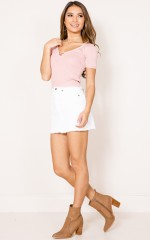 Call Me Up crop top in blush