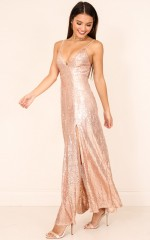 Call Out dress in gold sequin