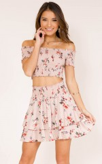 Change My Life two piece set in beige floral