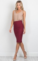 Claim It Back skirt in wine