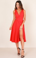 Classic Lady midi dress in red
