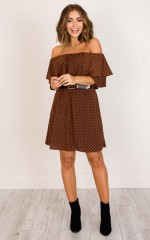 Clear Skies dress in brown print
