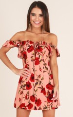Come Back To You dress in peach floral