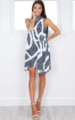 Copenhagen dress in navy print