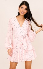 Count Me Down dress in blush polka dot