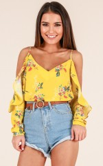 Craving You top in mustard floral