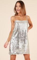 Disco Queen dress in silver sequin