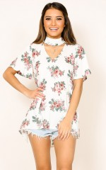 Do It For You top in beige floral