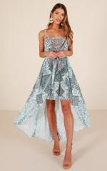 Dolphin Dreams maxi dress in aqua print