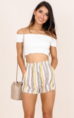 Dont Mind shorts in mustard stripe