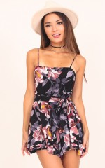 Dont Waste My Time playsuit in black floral