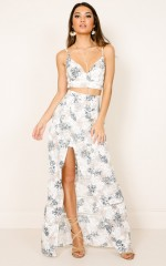Downtown Double Two Piece Set in White Floral