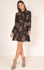 Enchanted Garden dress in black floral