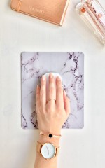 Represent Mouse Pad in white marble