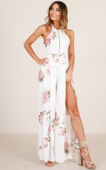 Far Away Lands jumpsuit in white floral