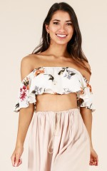 Favourite Thing crop top in white floral