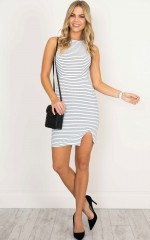 Feel Alright dress in white stripe