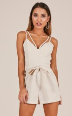 Feel For You playsuit in beige