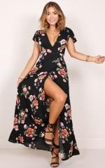 Feel The Burn maxi dress in black floral