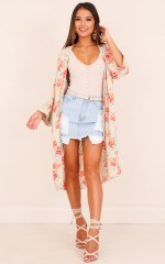 Feel The Rush kimono in beige floral