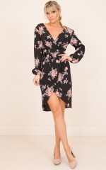 Find Your Spirit Dress in Black Floral