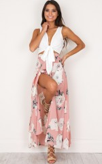 Flying On Neverland maxi skirt in dusty pink floral