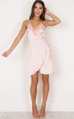 Glow Up dress in blush sateen