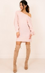 Grey Area knit dress blush